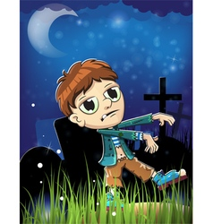 Halloween zombie on a cemetery vector