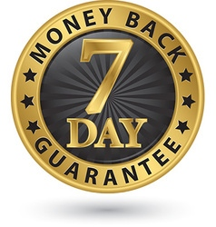 7 day money back guarantee golden sign vector