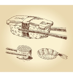 Set of hand drawn sushi vector