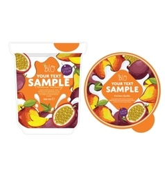 Passion fruit mango yogurt packaging design vector