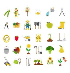 Gardening work farming icon set flat style design vector