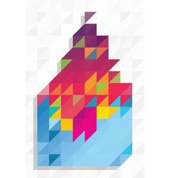 Abstract shape with triangles pattern vector