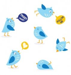 twitter message birds set vector image