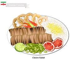 Chelow kabab the national food of iran vector