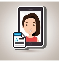 woman with samrtphone isolated icon design vector image