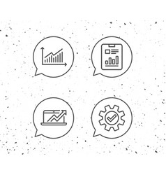 Analysis line icons chart report and service vector