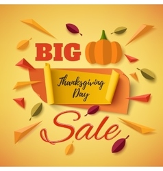 Big thanksgiving day sale banner with abstract vector