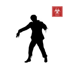 Black silhouette of zombie on white background vector