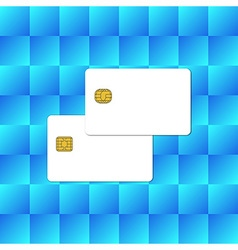 Blank Chip Card on Abstract Blue Background vector image