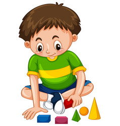 Boy playing with shape blocks vector