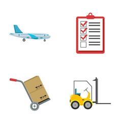 Cargo plane cart for transportation boxes vector