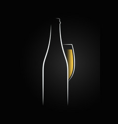 Champagne glass logo champagne bottle on black vector