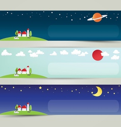 Colorful abstract city and the universe banner vector image vector image