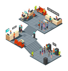 Commercial bank office 3d isometric interior with vector