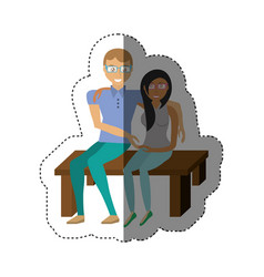Couple sitting together romance shadow vector