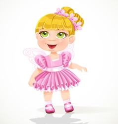 Cute little girl in a pink tutu and wings vector