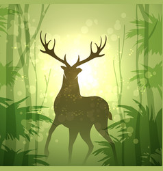deer in a forest vector image
