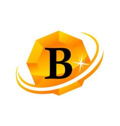 diamond swoosh initial b vector image vector image