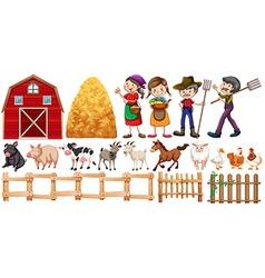 Farmers and farm animals vector image