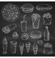 Fast food chalk sketch icons on blackboard vector