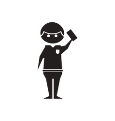 Flat icon in black and white referee vector