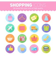 Flat shopping icons pack vector