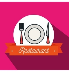 fork plate knife restaurant icon vector image vector image