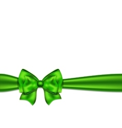 Green silky bow on a white background vector image vector image