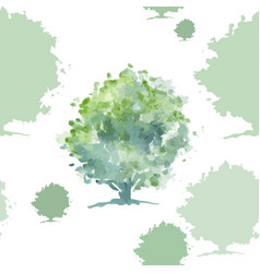 Green tree seamless pattern vector