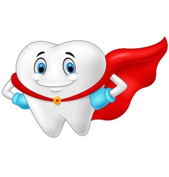 Happy superhero healthy tooth vector image