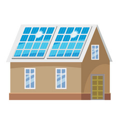 roof solar battery icon cartoon style vector image