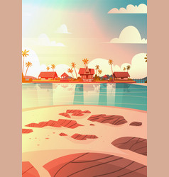 sea shore beach with villa hotel beautiful sunset vector image
