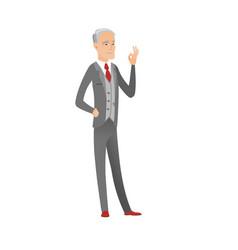 Senior caucasian businessman showing ok sign vector