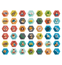 Service hexagon flat longshadow icon set vector