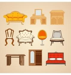 Set of ten of home furnishings vector image