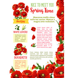 spring season flower bouquet greeting poster vector image vector image
