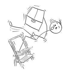 Stick man cartoon of man falling from stepladder vector