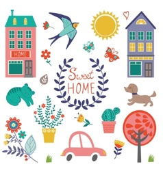 Sweet home colorful set vector