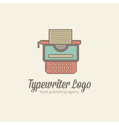 Thin-lined stylized typewriter logotype vector image