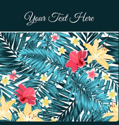 Tropical leaves flowers card template place text vector
