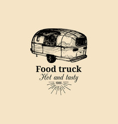 Vintage food truck logo with lettering vector