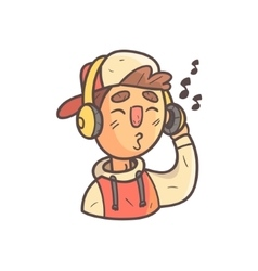 Listening to music boy in cap and college jacket vector