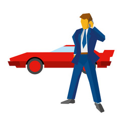 Businessman with phone red car at the back vector
