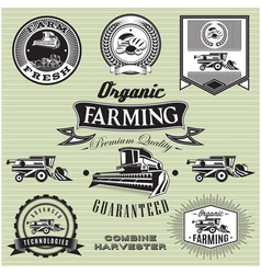 Set of labels on bread and combine harvester vector