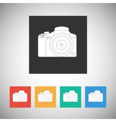 Camera icon on square background with long shadow vector