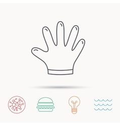 Rubber gloves icon latex hand protection sign vector