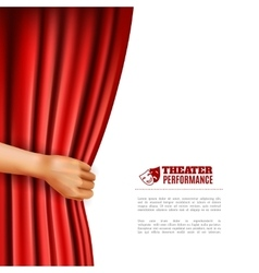 Hand opening theatre curtain vector