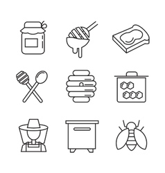 Flat honey icons vector