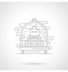 Luggage trolley detail line icon vector