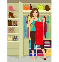 Woman standing near a closet vector